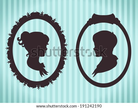 Children portraits in frames. Vintage style silhouettes - stock vector