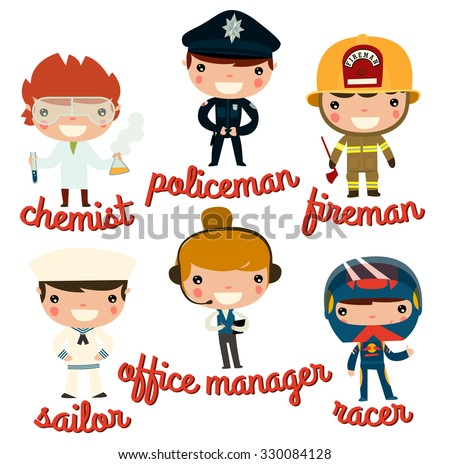 children professions. chemist, policeman, fireman, sailor, office manager, racer. vector character set. - stock vector