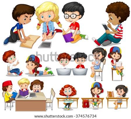 Children reading and learning illustration - stock vector