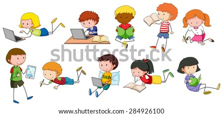 Children reading and writing in different styles - stock vector