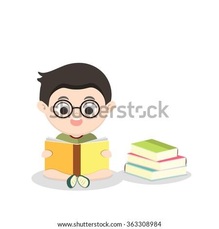 Children reading book  vector illustration - stock vector