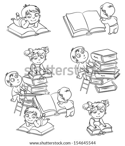 Children reading books in the library. Coloring book. Vector illustration. Isolated on white background - stock vector