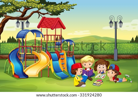 Children reading in the park illustration - stock vector