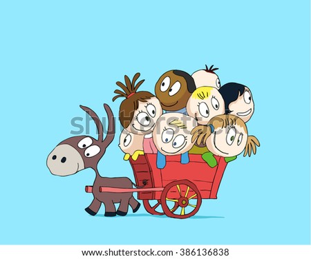 Children ride in a cart with a donkey