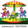 Children ride on the carousel. Vector art-illustration on a white background. - stock photo