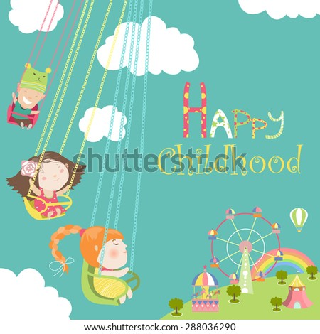Children ride on the carousel. Vector illustration - stock vector