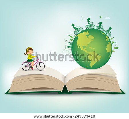 Children riding bicycles on the book.vector