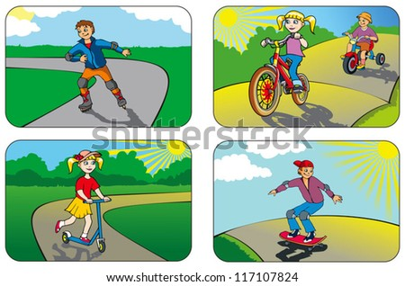 Children riding different vehicles and equipment, vector illustration - stock vector