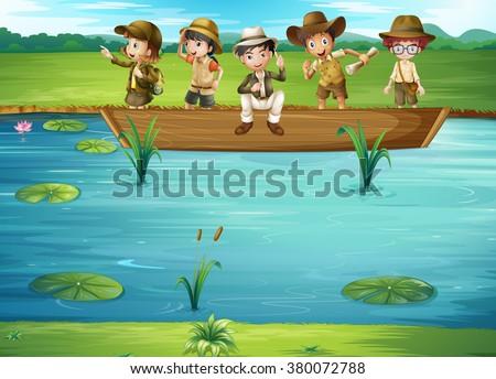 Children riding on the boat illustration - stock vector