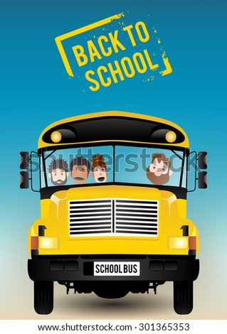 Children riding school bus. Vector