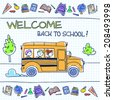 Children riding school bus. Vector illustration.  - stock photo