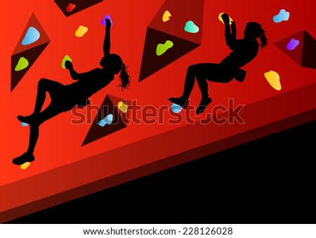 Children rock climber sport athletes climbing wall in abstract silhouettes background illustration vector - stock vector