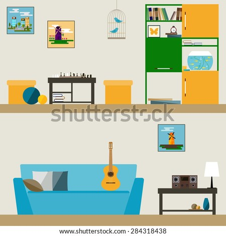 children room interior in trendy flat style for use in design for for card, invitation, poster, banner, placard or billboard cover - stock vector