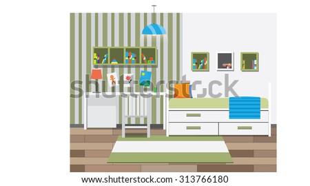 Children room interior with bookshelves. Vector illustration - stock vector