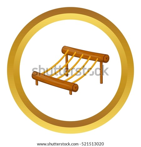 Children rope ladder vector icon in golden circle, cartoon style isolated on white background