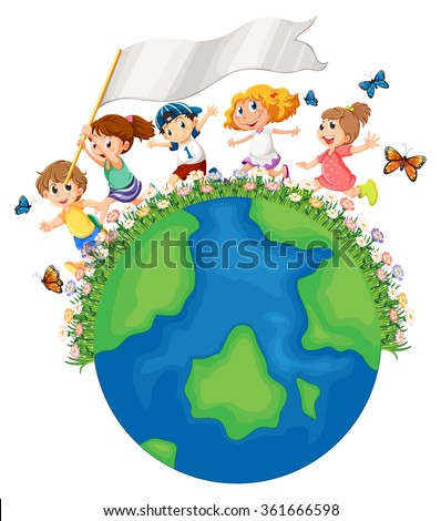 Children running around the earth with flag illustration - stock vector