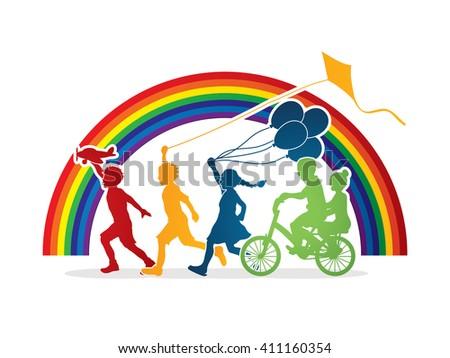 Children running, Friendship on line rainbows background graphic  - stock vector