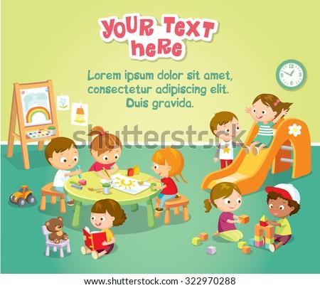 children's activity in the kinder garden - stock vector