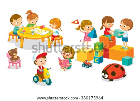 children's activity in the kinder garden - stock vector