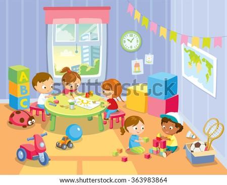 children's activity in the play room - stock vector