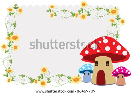 Children's album, including the beautiful flower and mushroom house - stock vector