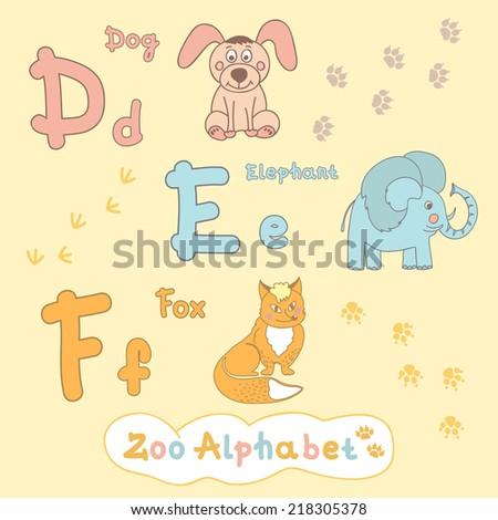 Children's alphabet with animals, dog, elephant, fox. Letter D, E, F - stock vector