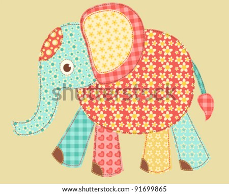 Children's application. Elephant. Patchwork series. Vector illustration. - stock vector