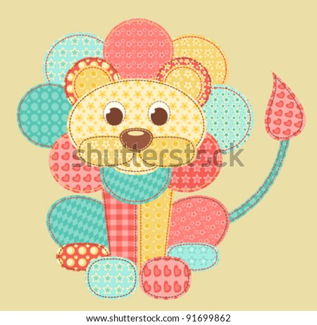 Children's application. Lion. Patchwork series. Vector illustration. - stock vector