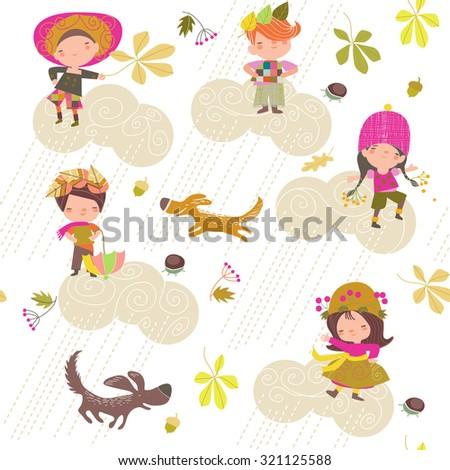 Children's background autumn - stock vector