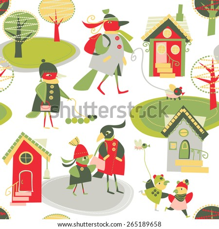 children's background with birds and houses - stock vector