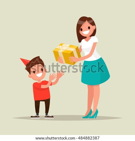 Children's birthday. Mom gives son a birthday present. Vector illustration of a flat design