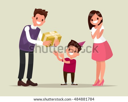 Children's birthday. Parents give her son a birthday present. Vector illustration of a flat design