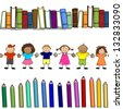Children's books and colors naive style seamless-More levels-Without the effects of transparency-EPS 8 - stock photo