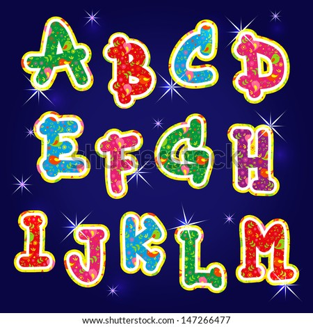 letters in the alphabet the letter in the alphabet stock images royalty 23358 | stock vector children s bright alphabet first characters 147266477