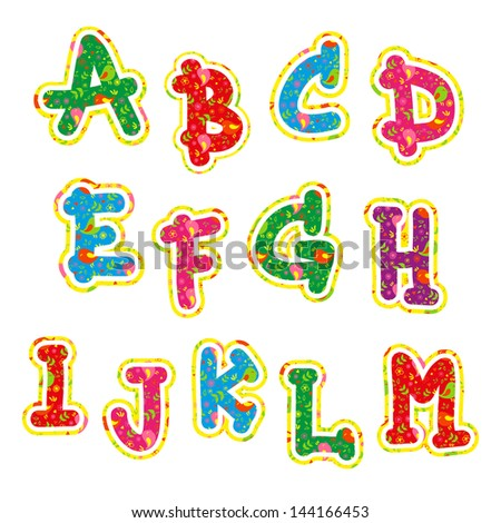 Children's bright colorful alphabet the first 13 characters