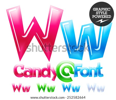 Children's candy font. Set of vector symbols. Letter W - stock vector
