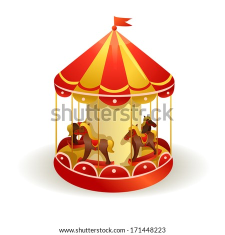 children's carousel with horses. vector illustration