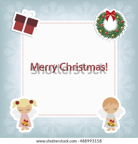 children's Christmas frame. template baby Christmas for greeting or invitation. Sketch for a photo or scrapbook. Christmas vector illustration
