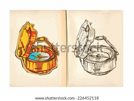 Children's coloring book. An hand drawn illustrations from series: Pirates - COMPASS. Vector is editable in group and layers, the paper ((background) is in the bottom layer. - stock vector