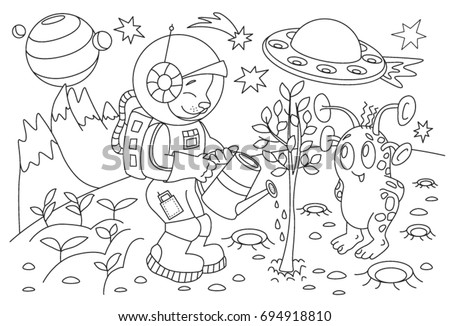 Childrens Coloring Book Cartoon Alien On Stock Vector (Royalty Free ...