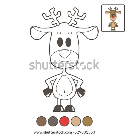 Childrens Coloring Book Deer Color Christmas