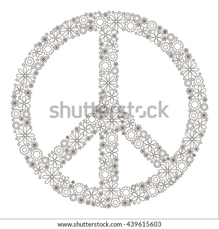 childrens coloring book symbol of peace pacific made up of flowers logo - Hippie Coloring Book