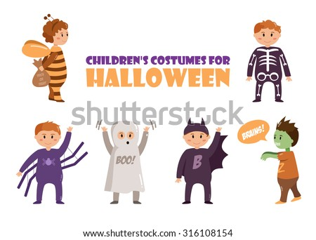 Children's costumes for Halloween. Ghost, bee, skeleton, spider, bat, zombie,Vector isolated illustration. Cartoon characters.  - stock vector