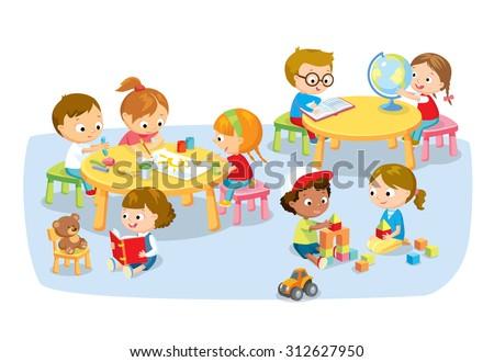 children's creative activity - stock vector