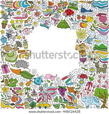 Children's creativity frame. Vector illustration. - stock vector