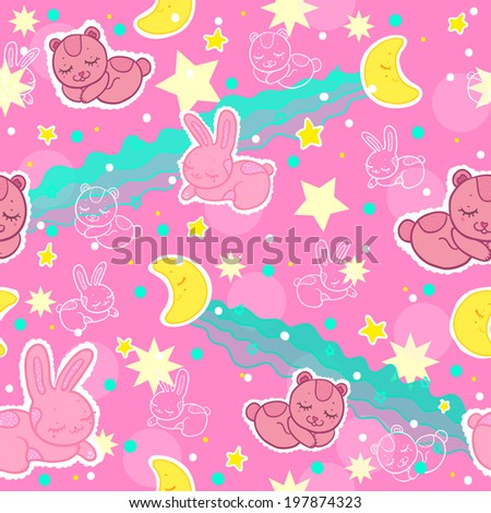 Children's cute and funny pattern with teddy bears and bunnies that are sleeping on a background of clouds, stars and month
