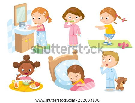 children's daily routine - stock vector