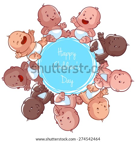 Children's day card. Vector illustration on a white background.
