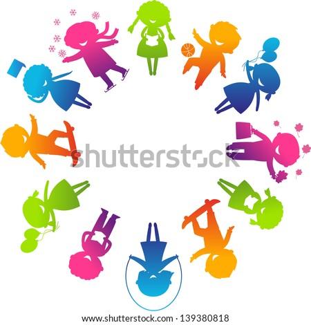 Children's Day concept. Cute children silhouettes around the World. - stock vector