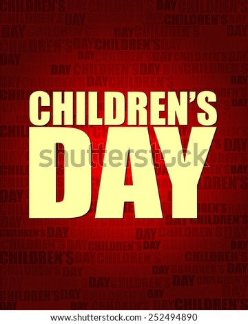 Children's Day with same text on red gradient background.